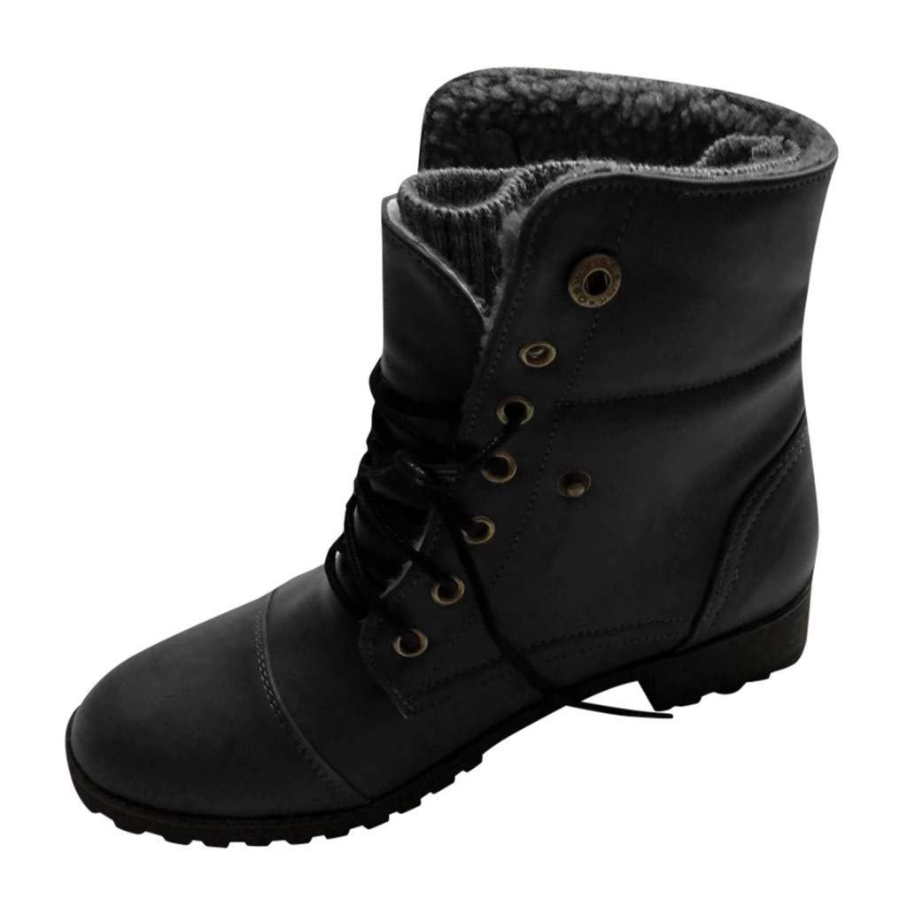 Onefa Womens Ankle Boots Women's Low-Heeled Combat Style Lace Up Ankle Booties Casual Round Toe Boots Shoes by Onefa