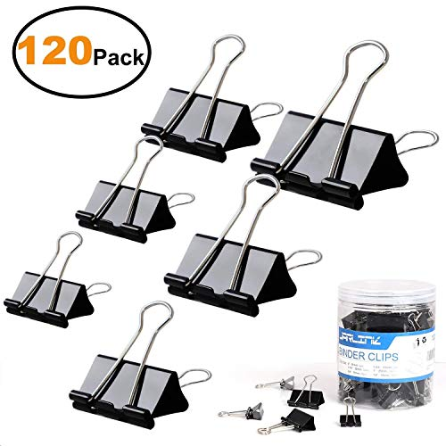 Binder Clips Paper Clamp, 120 Pcs Binder Clamps Assorted 6 Sizes (Black) for Office Supplier School Accessories by JARLINK