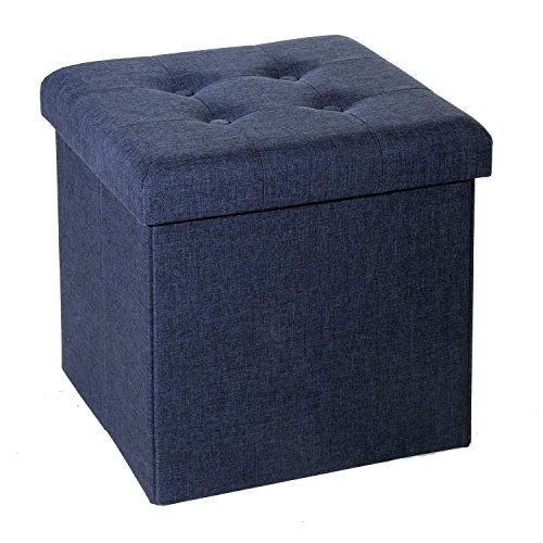 Outdoor Materials Upholstered (Seville Classics Foldable Tufted Storage Ottoman, Midnight Blue)