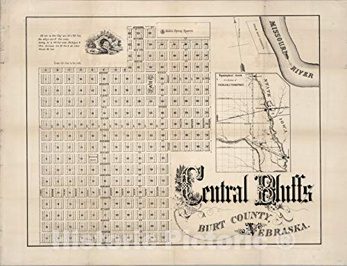 - Historic Map | Central Bluffs, Burt County, Nebraska 1856 | Vintage Wall Art | 57in x 44in