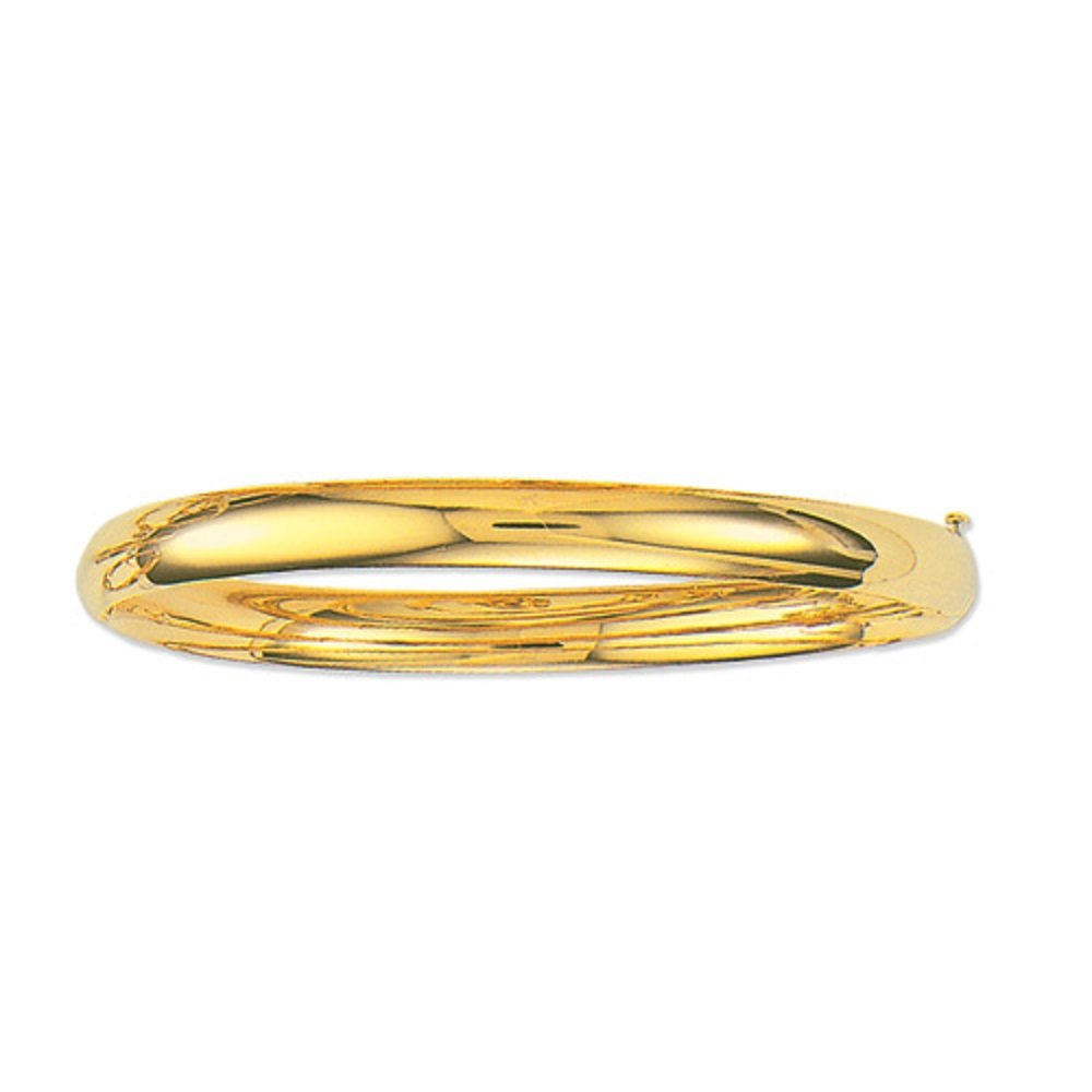 14K Yellow Gold Shiny Bangle Hinged Bracelet 5 Mm, 4.8 Grams 7'' by RCI