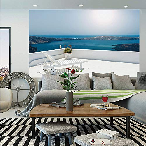 Travel Decor Removable Wall Mural,Sunbed on Terrace White Architecture Santorini Island Greece Idyllic View Sea,Self-Adhesive Large Wallpaper for Home Decor 66x96 inches,Blue White