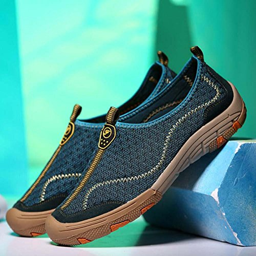 Bomba Slip On Loafer Net Yarn Malla Sandalias Casua Zapatos Hombre Breathable Hollow zapatos de senderismo Pedal Zapatos Sneker Zapatos Deportivos Driving Zapatos Lazy Shoes Eu Tamaño 38-44 Dark Green