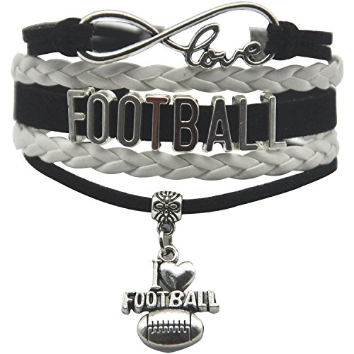 HHHbeauty Infinity Football Bracelet Friendship Cut Youth Football Charm Bracelet for Women,Men,Girls,Boys,Teen Including Infinity Love Charm, Letters, Football Charm (Black and ()