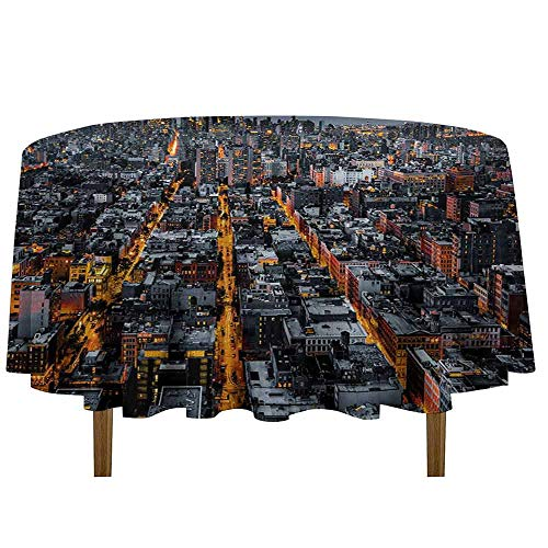 - DouglasHill City Waterproof Anti-Wrinkle no Pollution Avenues Converging Towards Midtown in New York America Architecture Aerial Table Cloth D35 Inch Marigold Grey Black
