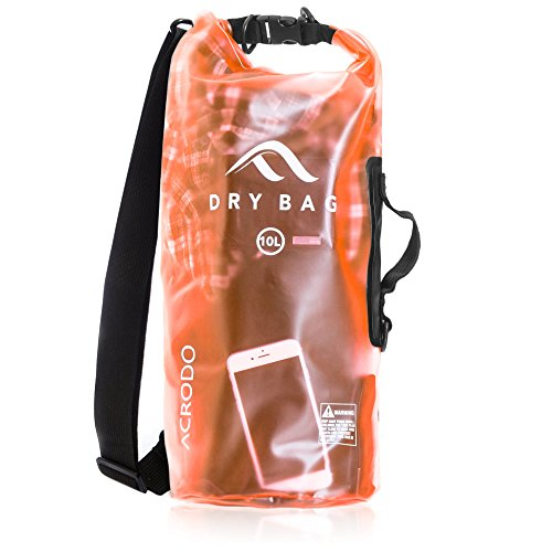 Acrodo Dry Bag Transparent & Waterproof - Orange 10 Liter Floating Sack for Beach, Kayaking, Swimming, Boating, Camping, Travel & Gifts