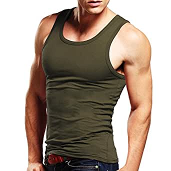 XDIAN Men's A-Shirt X-Small(Tag size M) Army Green