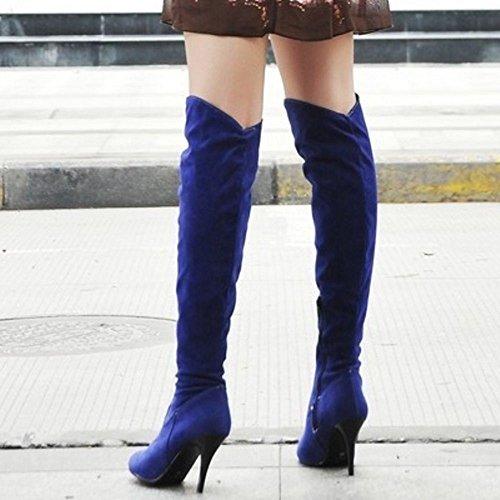 Bottes Fermeture Haut Cuissarde Cours Genou Su Chaussures Blue Eclair Longue Femmes Taoffen Talon Au 8wx6qIH