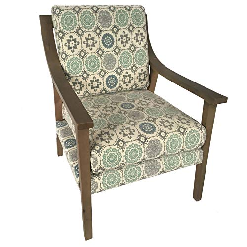 Wilcox Upholstered Pattern Wood Arm Chair Multi Color Ikat Traditional Removable Cushions (Upholstered Ikat Chairs)