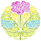 Rose Flower Stencil - 14 x 14 inch (L) - Reusable Art Nouveau Floral Flowers Wall Stencil Template - Use on Paper Projects Scrapbook Bullet Journal Walls Floors Fabric Furniture Glass Wood etc.