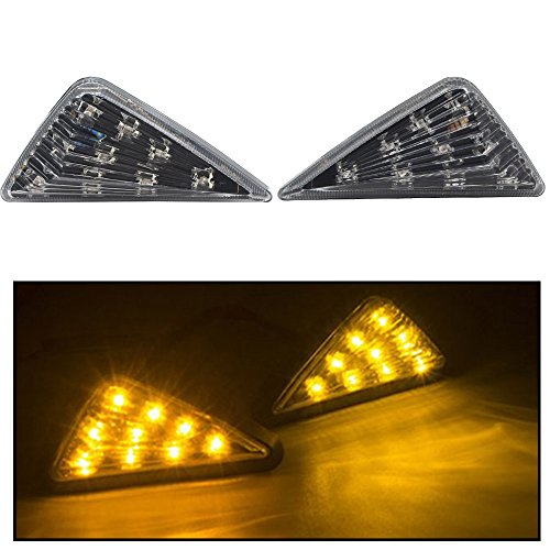 (shunyang LED Flush Mount Turn Signal Light Side Marker Lamp 9 LED Bulbs 12V Triangle Smoke Flush Mount Blinkers Indicator Lights Motorcycle Amber LED Signal Lights Indicator Lights 2 Pcs)