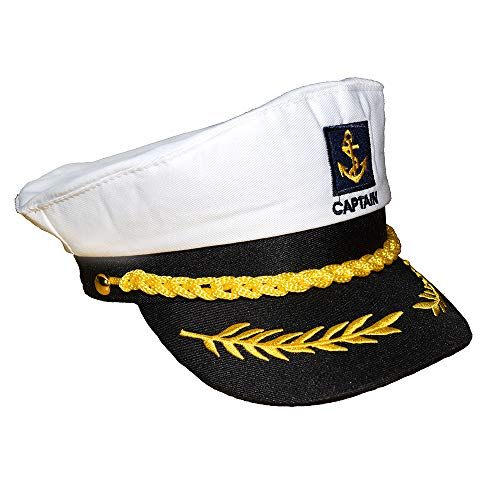 Teens Admiral Captain Hat Snapback Embroidery Anchor Skipper Nautical Party Hats (White 1) ()