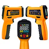 Digital Infrared Non-Contact Thermometer,Temperature Gun Digital Laser IR Thermometer With 12 Point Aperture Temperature Alarm Function -50?~300?(-58?~572?),LCD Instant-read Handheld,Yellow