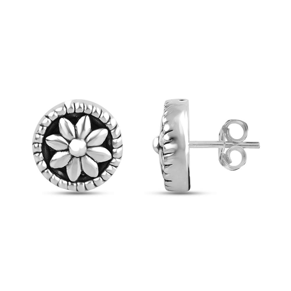 LeCalla Sterling Silver Light Weight Antique Flower Carved Stud Earring for Women Girl