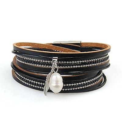 JAOYU Leather Bracelet For Women Charm Cuff Bangle Bracelets Multi Layered Pearl Handmade Jewelry Teen Girl Gifts Mother's Day Ideas