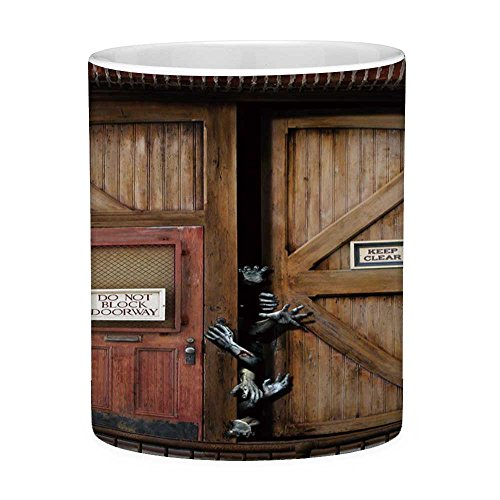 Lead Free Ceramic Coffee Mug Tea Cup White Zombie Decor 11 Ounces Funny Coffee Mug Monsters behind Wooden Door Demon Halloween Fear Fantasy Picture Decorative Umber Chestnut Brown ()