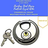 Pack of 18, Stainless Steel Discus Padlocks Keyed Alike 70mm Round Disc Padlock with Shielded Shackle, 2-3/4-inch, Stainless Steel Round Disc Storage Pad Locks All the same key Commercial Grade (18)