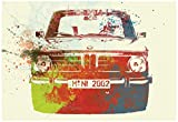 Bmw 2002 Front Watercolor 2 Poster by NaxArt 19 x 13in