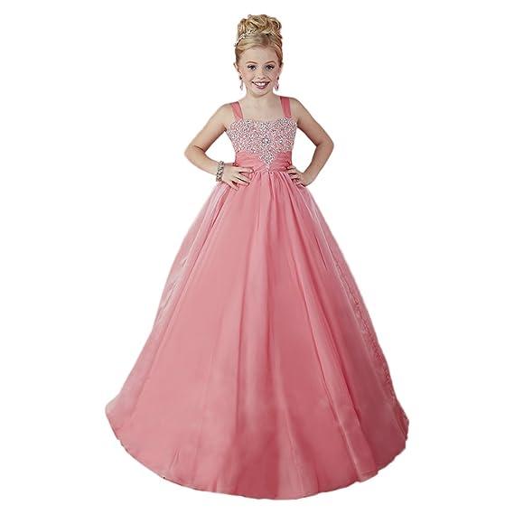 d26c62b7c85f ABaoWedding Girl's Beading Sleeveless Long Ball Gown Dress: Amazon ...