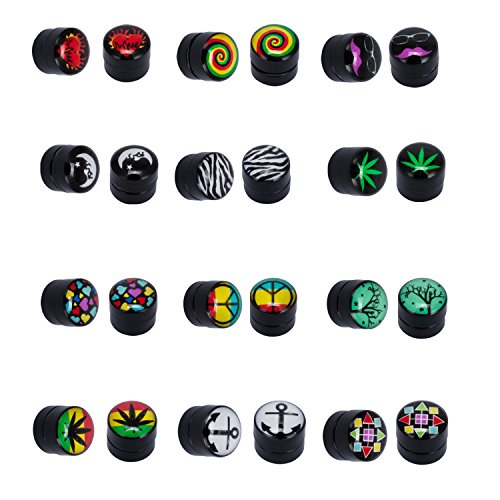 Magnetic Fake Plug Kit Gauges Magnet Earrings Logo 12 Pack