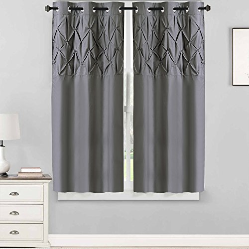 Sweet Home Collection 2 Piece Window Curtain Set with Unique Stylish Pinch Pleat Pintuck Design, 63