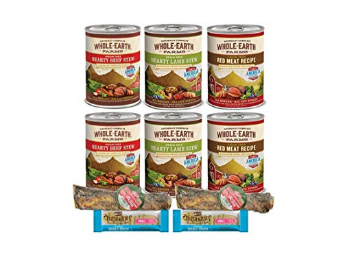 Merrick Dog Food Grain Free-Whole Earth Farms 6 Cans 3 Flavors 2 Dog Bones 2 Dental Chews 1 Can Lid