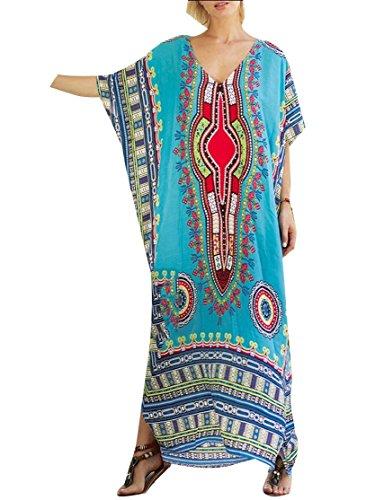 Jaycargogo Col Ras Du Cou Floral Style Ethnique Femmes Robe Courte Maxi Cocktail Manches 5