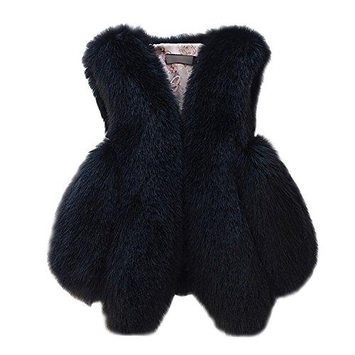 回復するストローク爪Fashion maker(F&M)ファーベスト レディース フェイクファーベスト シンプル ふわふわ 防寒 もこもこ 暖かい 高級感 Vネック フリーサイズ 全9色