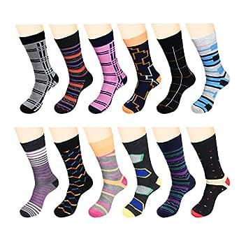 12 Pairs Men Dress Socks Funky Pack - W932G-Assort