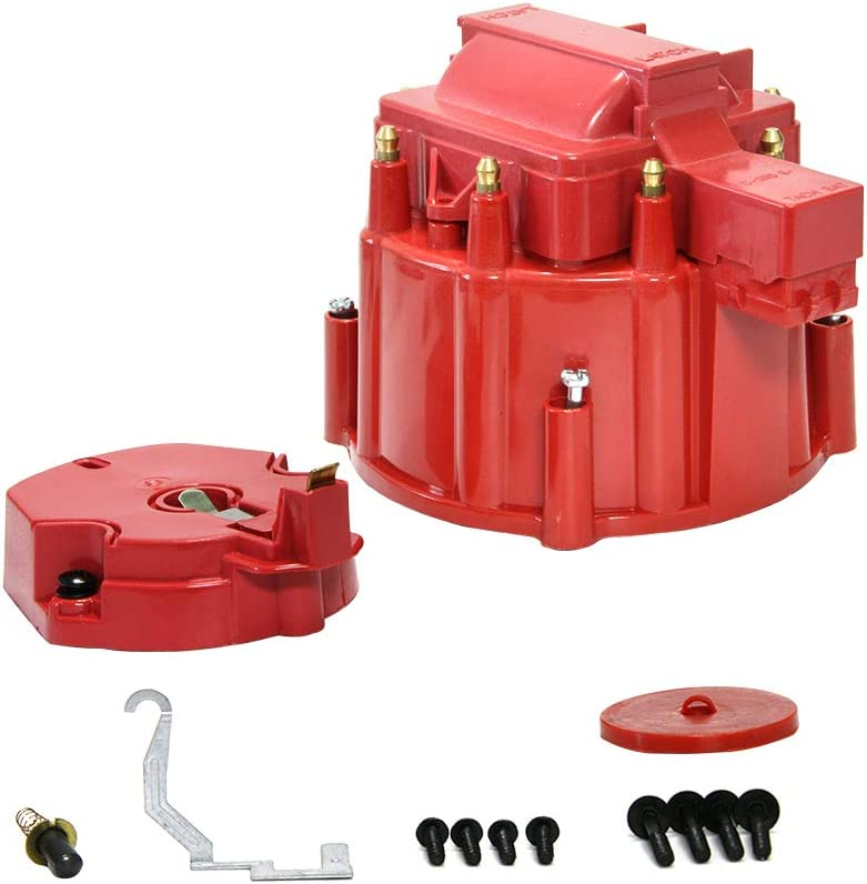 Red Male HEI Distributor Cap and Rotor for K549 SBC 283 305 307 327 350 400 BBC 454 396 427 Distributor Cap Assembly