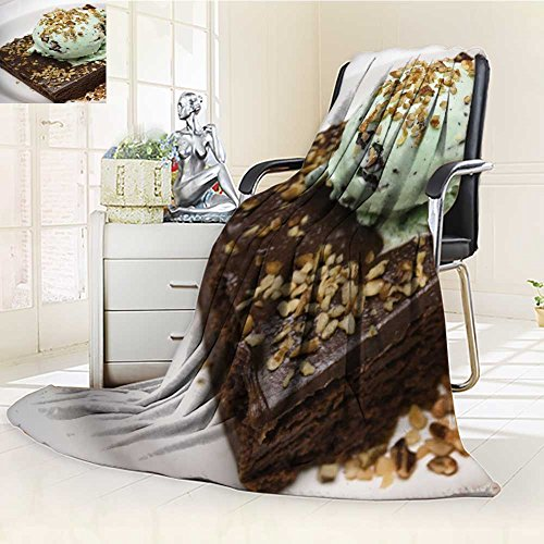 SOCOMIMI Microfiber Fleece Comfy All Season Super Soft Cozy Blanket fudge brownie with mint chocolate chip ice cream and nuts for Bed Couch and Gift Blankets(60