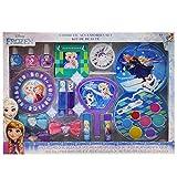 Frozen Elsa and Anna Kids Washable Mega Cosmetic Set Includes: Lip Balm, Nail Polish, Press on Nails, Hair Bows, Mirror, Nail Decorations, Lip Gloss Compact, Picture Frame, Lip Gloss, Nail file