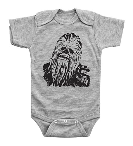 Baffle® Star Wars Inspired Baby Bodysuit/Chewbacca/Unisex Baby Onesie (Newborn, Grey SS)