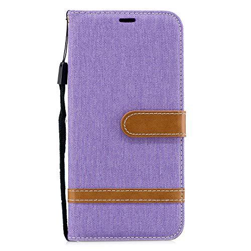 LG Stylo 5 Case, LG Stylo 5 Wallet Case, Splicing PU Leather Folio Flip Wrist Strap Kickstand Card/Cash Slots Leather Case Flip Folio TPU Soft Bumper Slim Protective Case for LG Stylo 5 Purple