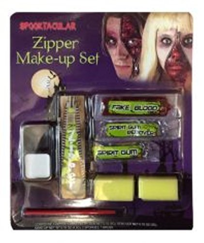 Zipper Kit With Zip, Face Paint, Fake Blood, Spirit Gum & Remover Halloween -
