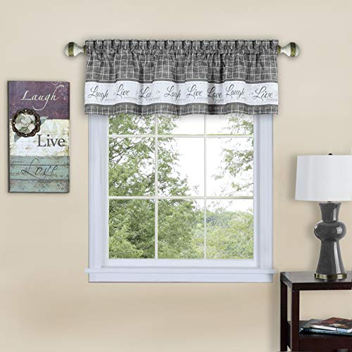 Ben & Jonah PrimeHome Collection Live, Love, Laugh Window Curtain Valance-58x14-Grey, Grey
