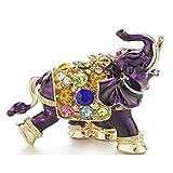 3D Auspicious Elephant Key Holder Chains Whole Enamel Colorful Crystal Bag Pendant Keyrings Keychains For Women K280 Purple
