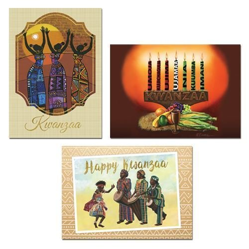 """Health & Personal Care : African American Expressions - Assorted Boxed Kwanzaa Cards (15 cards, 5"""" x 7"""") A-951 (Includes: K-917, K-918, K-919)"""