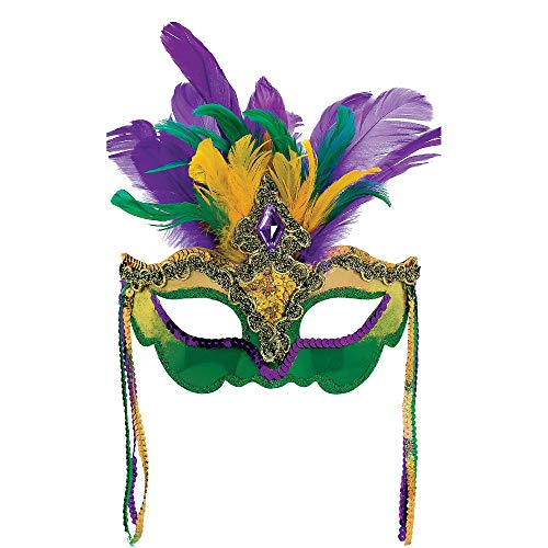 Mardi Gras Party Feather Venetian Mask ()