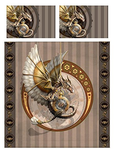 Wild Star Home Steampunk Dragon Duvet & Pillows Case Covers Set for Queensize Bed Artwork by Anne Stokes 4