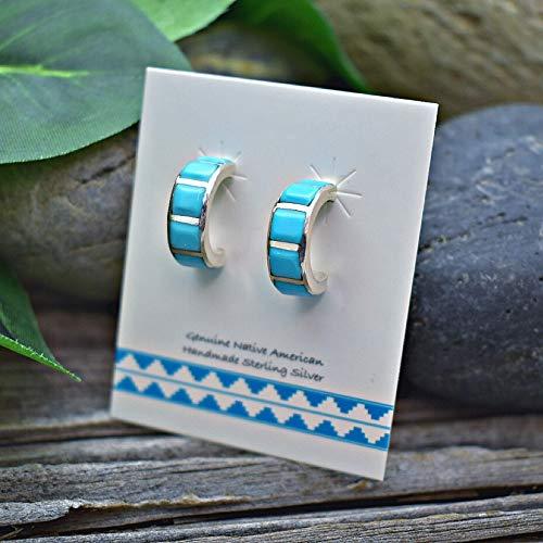 (Genuine Sleeping Beauty Turquoise Half Hoop Earrings in 925 Sterling Silver, Native American Handmade, Nickle Free )