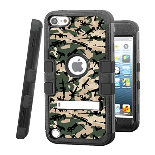 iPod touch 5 / 6 Case, CASECREATOR[TM] For Apple iPod touch 5th / 6th GEN () -- TUFF Hybrid Stand Rubber Hard Snap-on Case Black Black-Weapons Camo Pattern (Purple Camo Cases For Ipod 5)