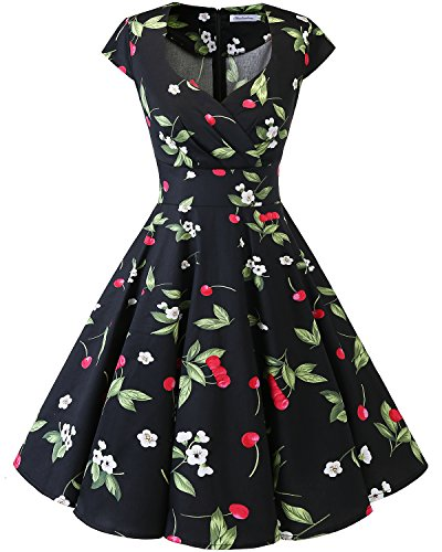 Bbonlinedress Women Short 1950s Retro Vintage Cocktail Party Swing Dresses Black Small Cherry M