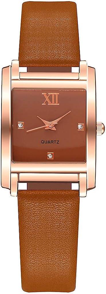 Yivise Mujer Casual Relojes de Cuarzo analógico Reloj de Pulsera de Cuero con Correa de Cuero con Esfera Cuadrada Simple