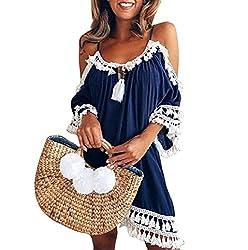 Fomini Women Fashion Super Soft Beach Cover Up Plain Pleated Tank Dress Off Shoulder Sling Sundress Navyx Large