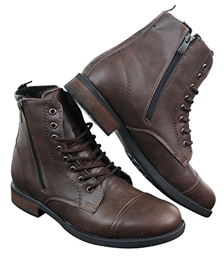 Tamboga Herrenstiefel Hiking Combat Design Blau Braun Boots Winter Warm Braun
