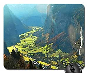 magnificent valley in switzerland Mouse Pad, Mousepad (Mountains Mouse Pad, 10.2 x 8.3 x 0.12 inches)