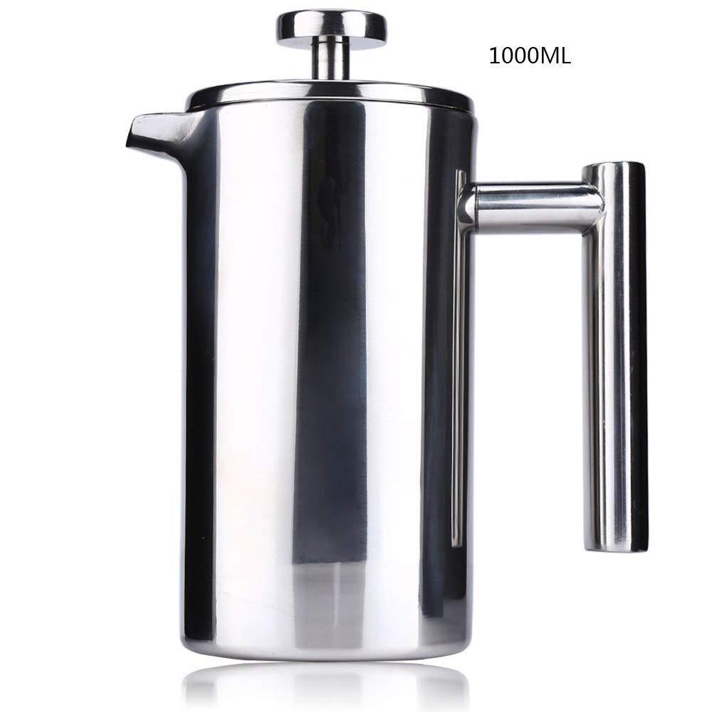 Acquisto 1000 ml in acciaio inox francese caffettiera pentola caffettiera permanente cestini filtro caffè espresso doppia parete francese stampa (Color : 1000ML) Prezzi offerta