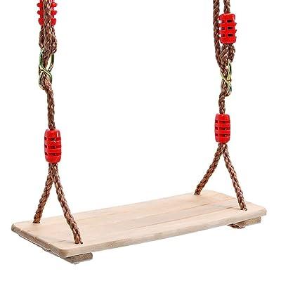 LLDWORK Wooden Hanging Swings Seat Adult Kids Wooden Tree Swing Seat Rope Wooden Swing Seat for Indoor Outdoor Use, 40 x 16 x 1.2cm: Home & Kitchen