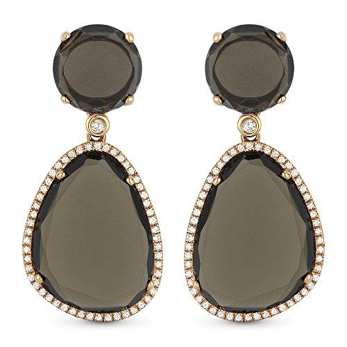Smokey-Topaz Gemstone & Accented White Diamond Dangle-Earring Set In 14K Rose-Gold ()